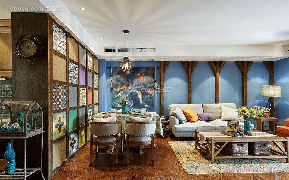 95平東南亞風格三居室裝修效果圖