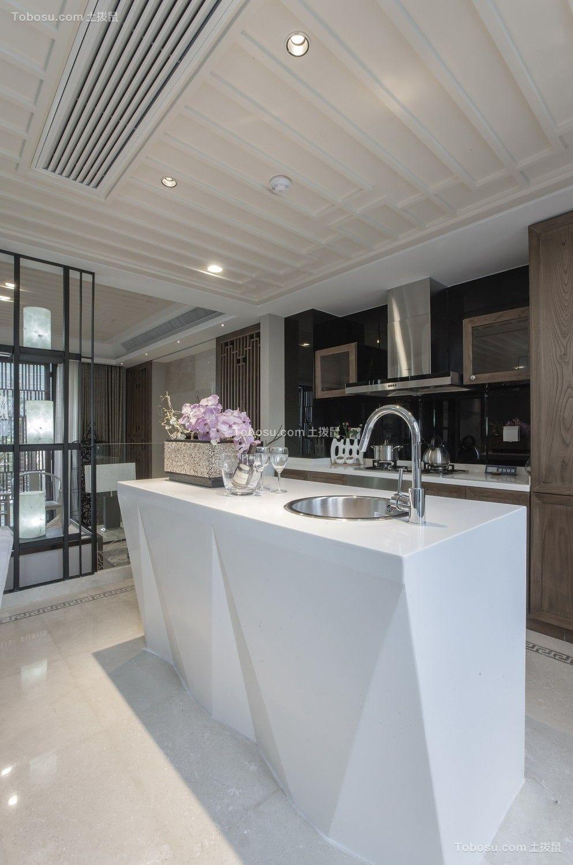 厨房米色吊顶新中式风格装潢图片