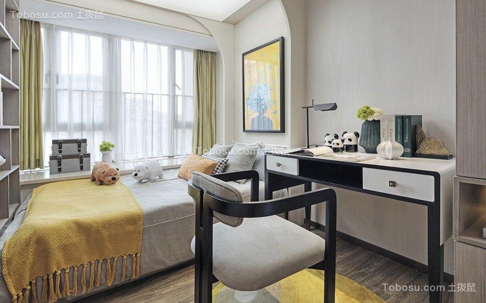 温暖现代简约绿色窗帘设计图