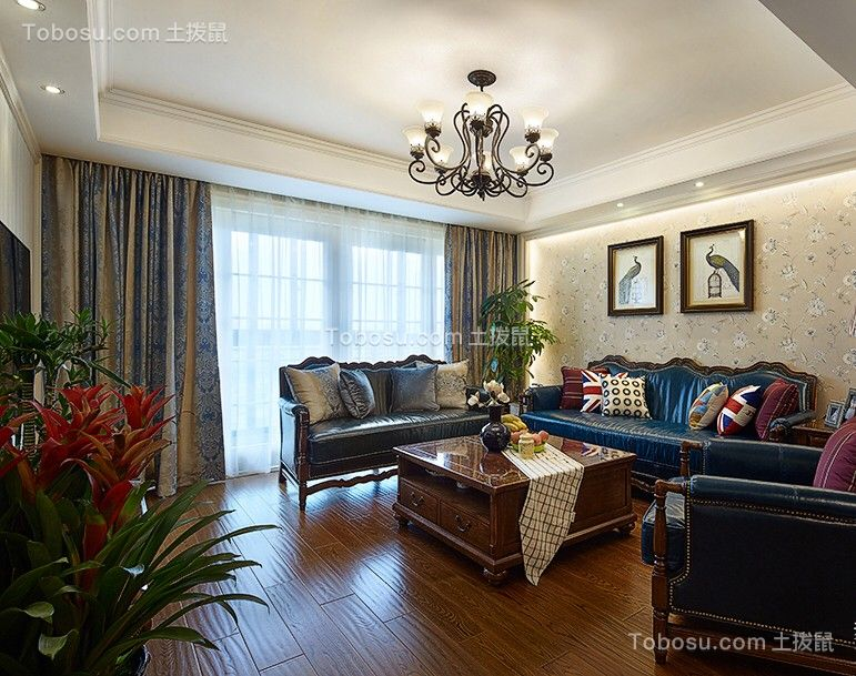 客厅蓝色窗帘美式风格装饰效果图