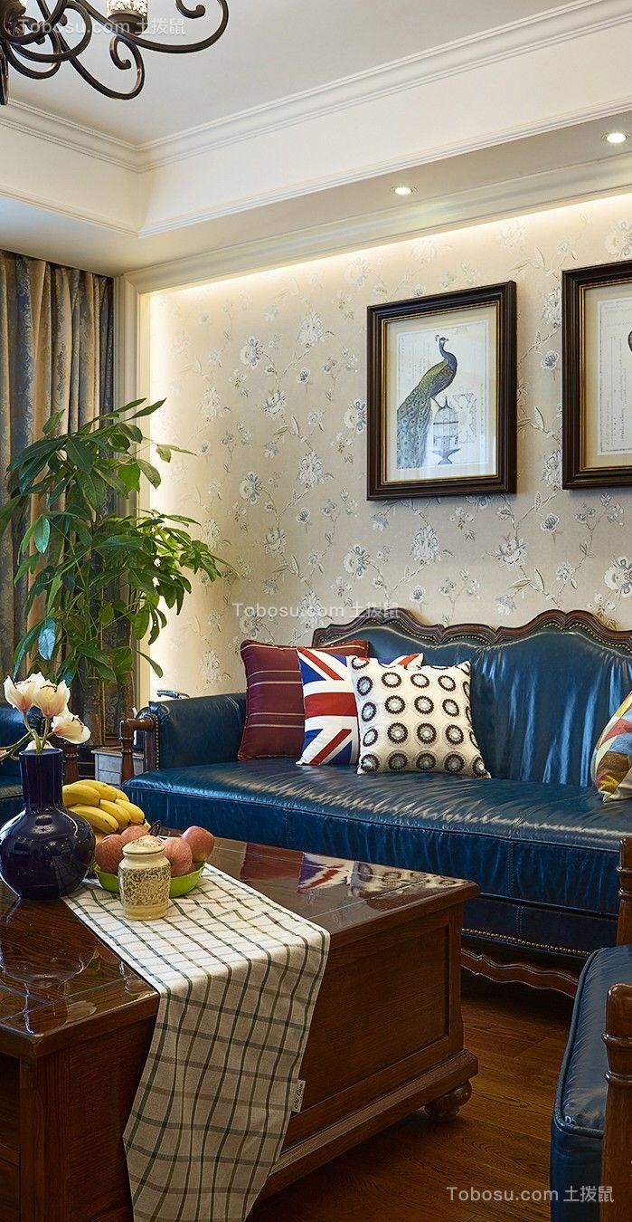 客厅黄色背景墙美式风格装修图片
