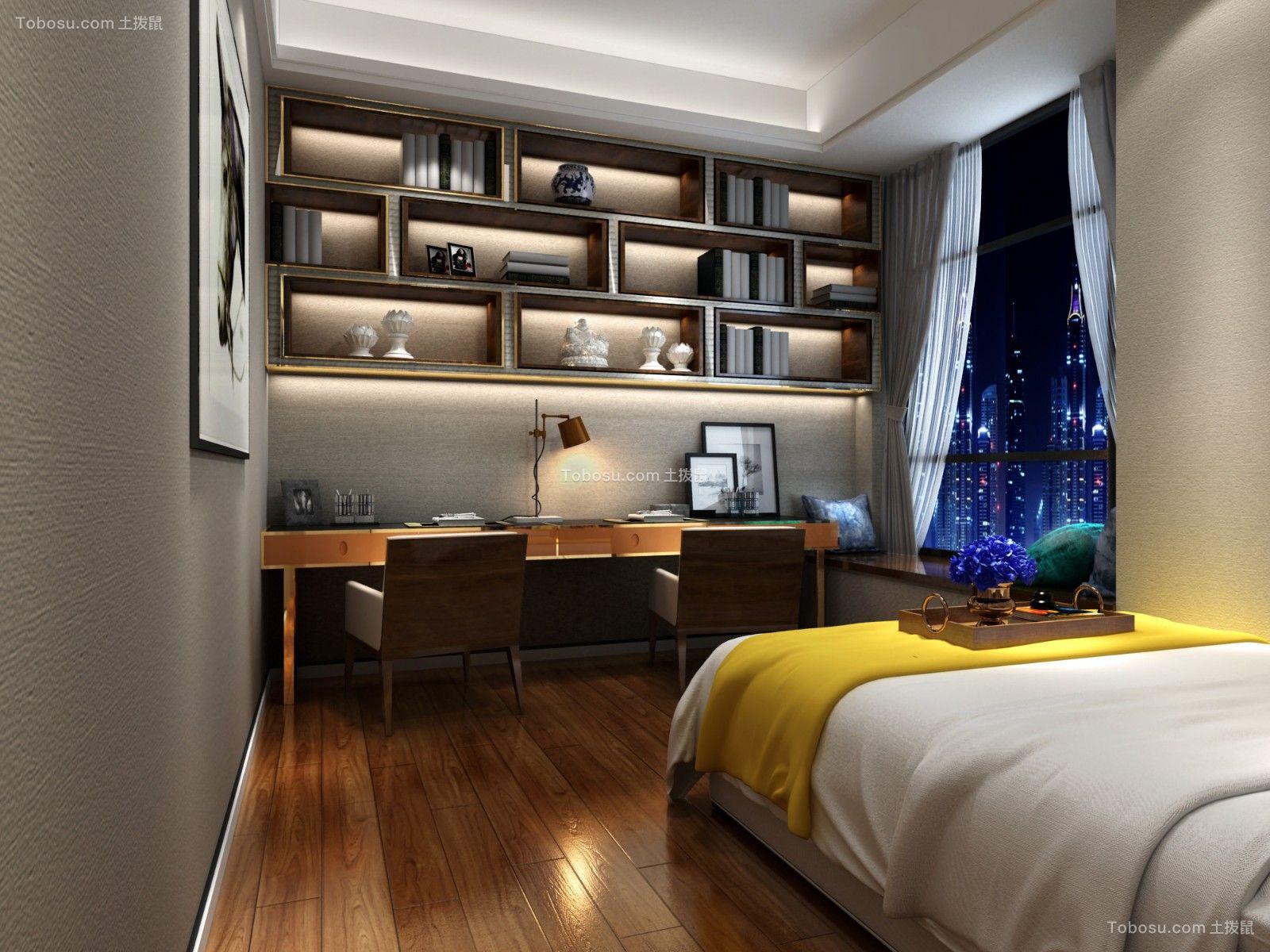 卧室黄色书桌简欧风格装修效果图
