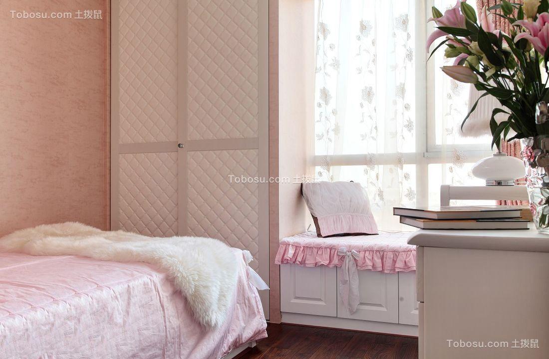 儿童房白色衣柜混搭风格装潢图片