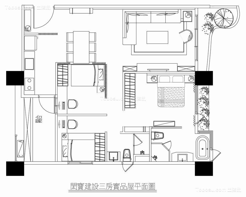 港式轻奢现代中式三居室