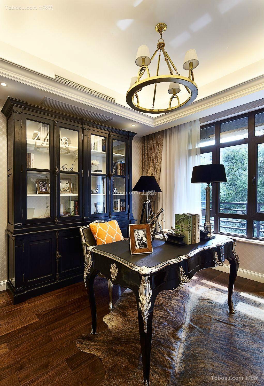 书房黑色书桌新古典风格装潢设计图片
