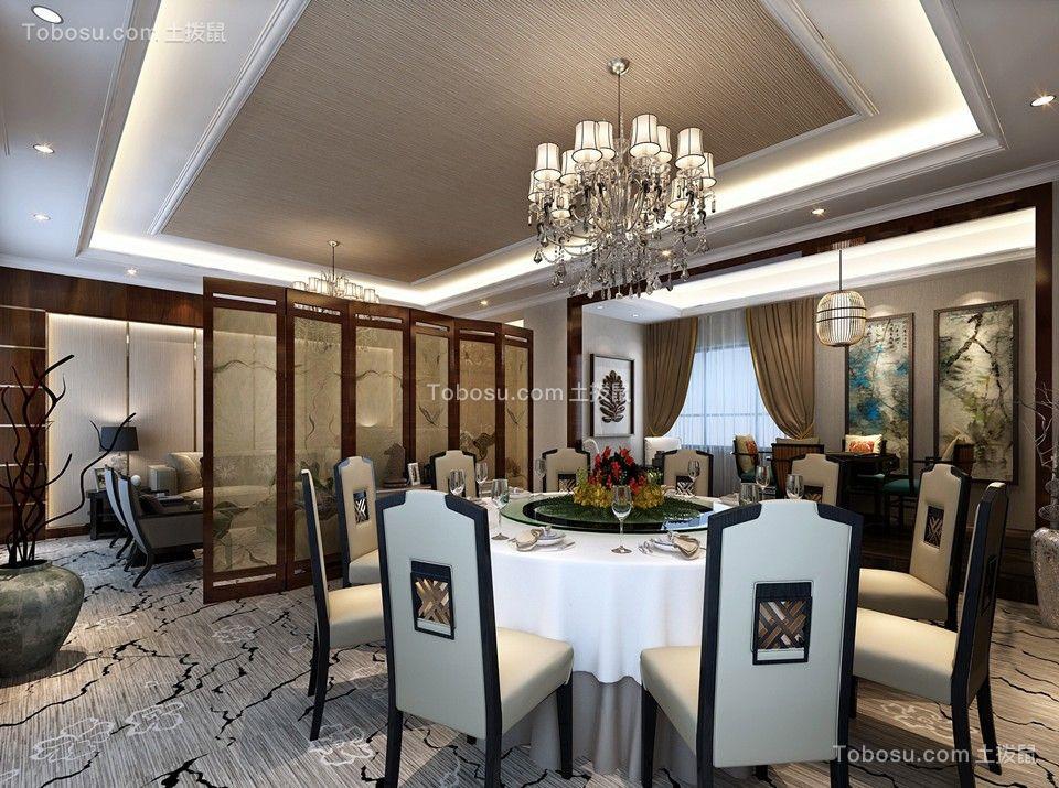 餐厅灰色地砖现代中式风格装潢图片