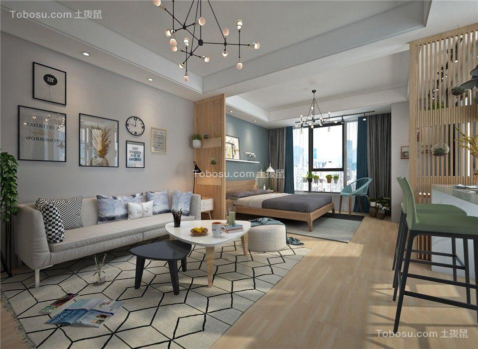 58平简约风格公寓装修效果图