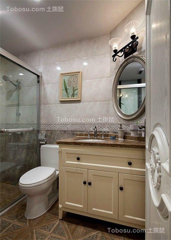 卫生间米色浴室柜美式风格装饰图片