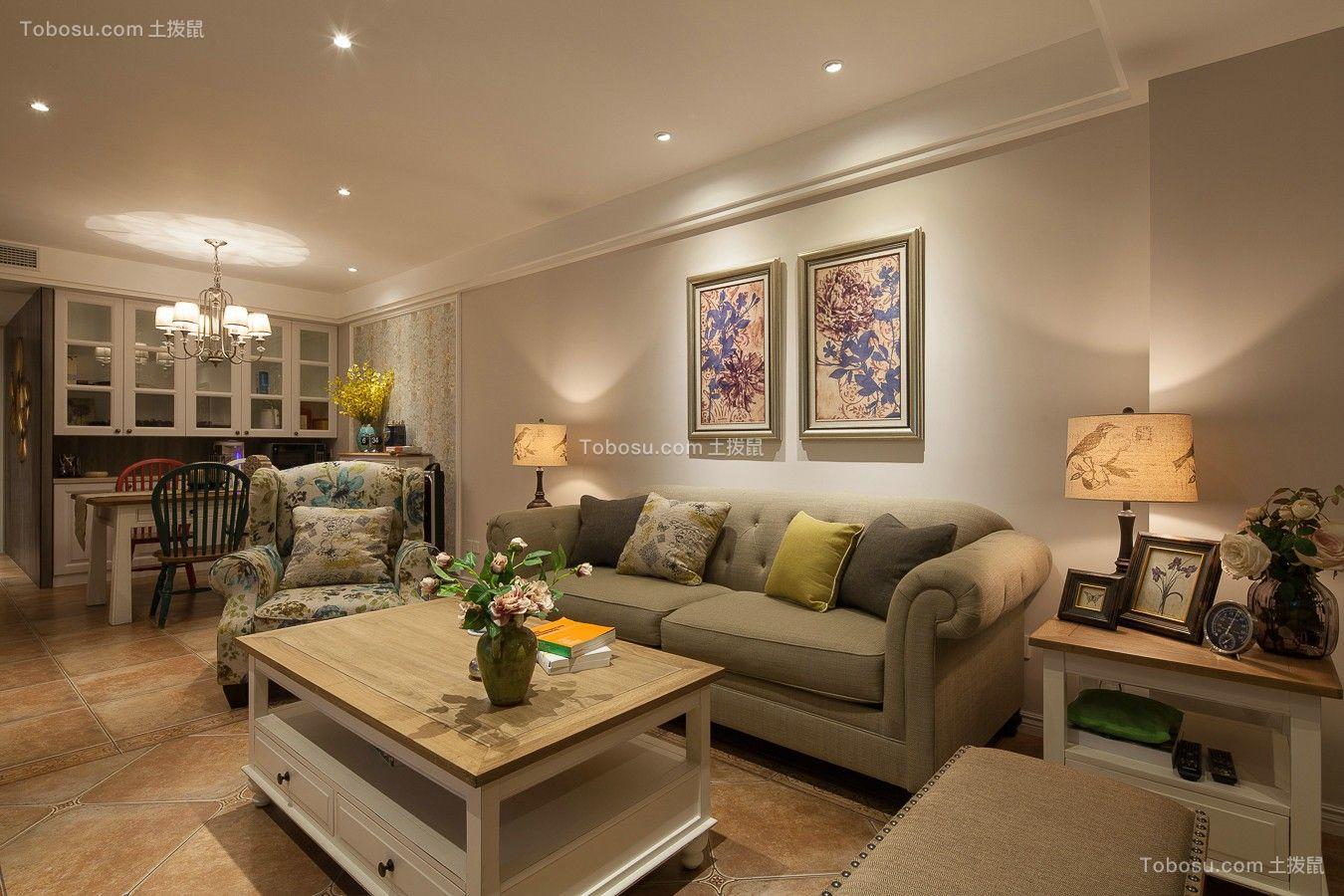 93平田园风格两居室装修效果图