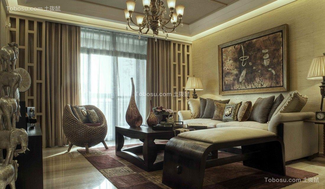 105平东南亚风格三居室装修效果图