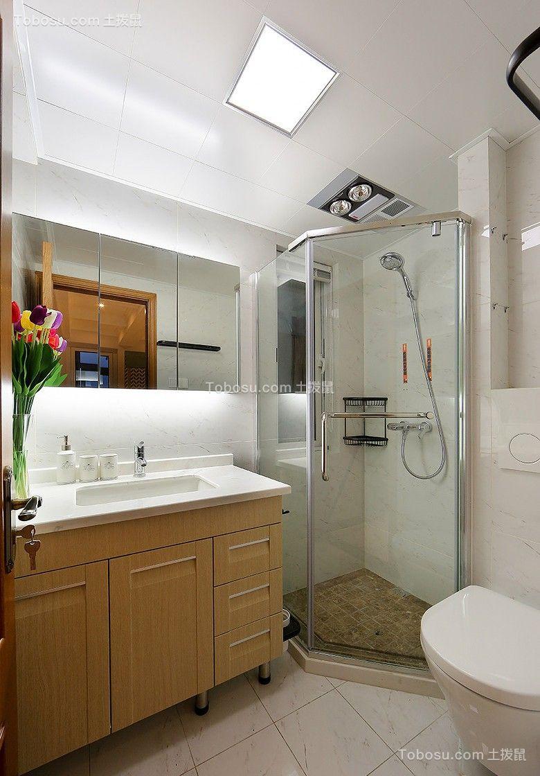 卫生间原木色浴室柜美式风格装潢图片