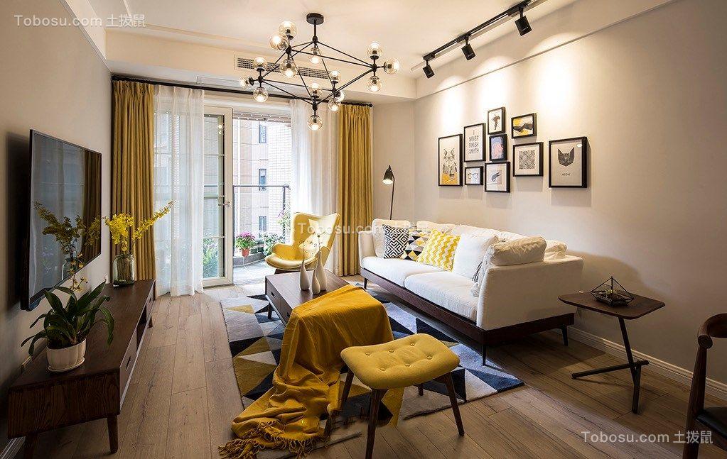 客厅黄色窗帘北欧风格装修设计图片
