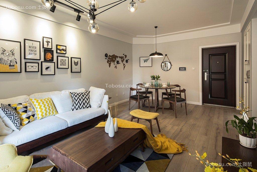 客厅灰色照片墙北欧风格装饰设计图片