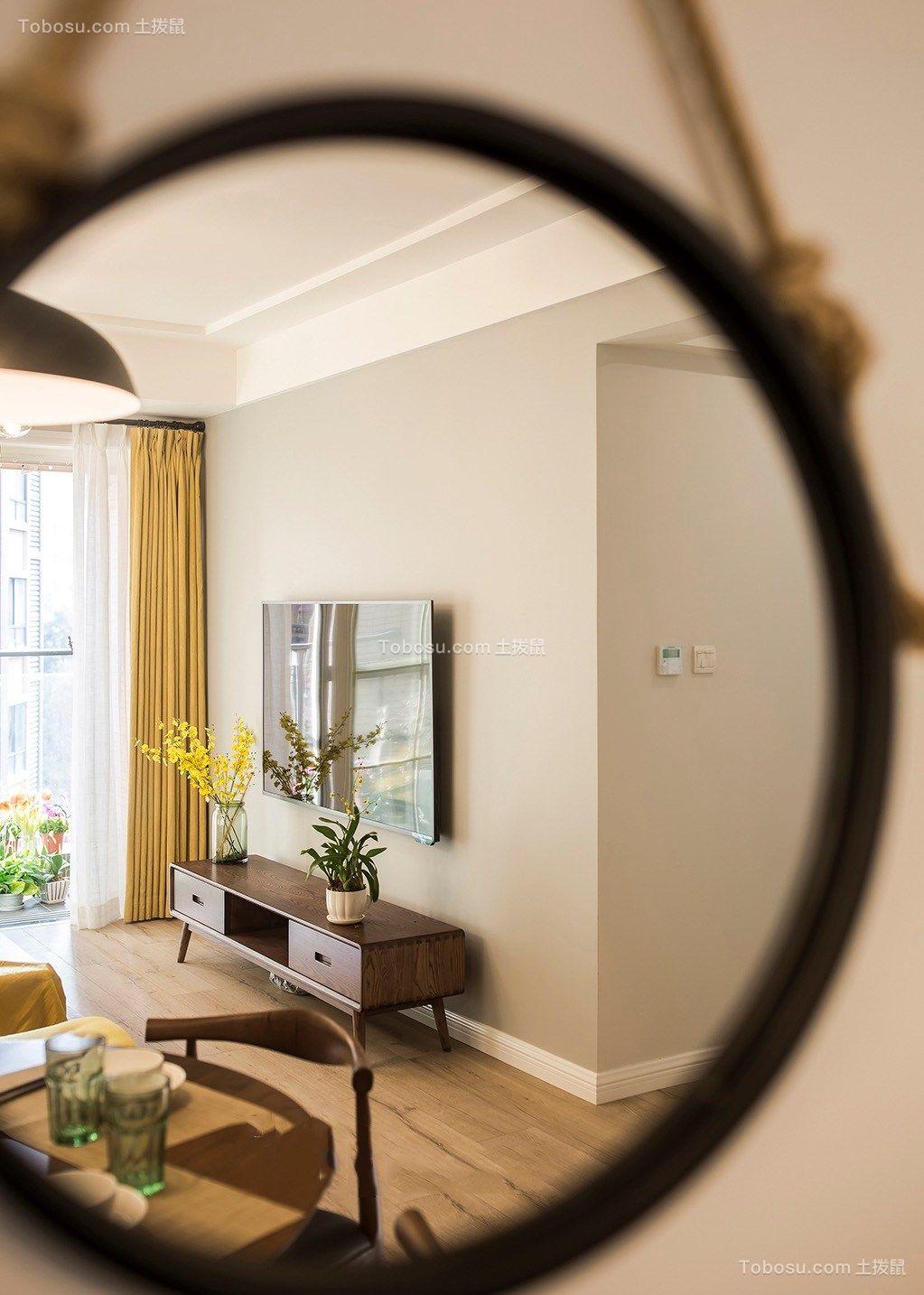 客厅灰色电视背景墙北欧风格装潢设计图片
