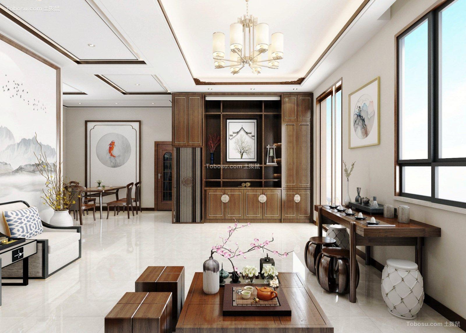 客厅米色吊顶新中式风格效果图