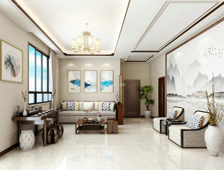 客厅灰色沙发新中式风格装饰效果图
