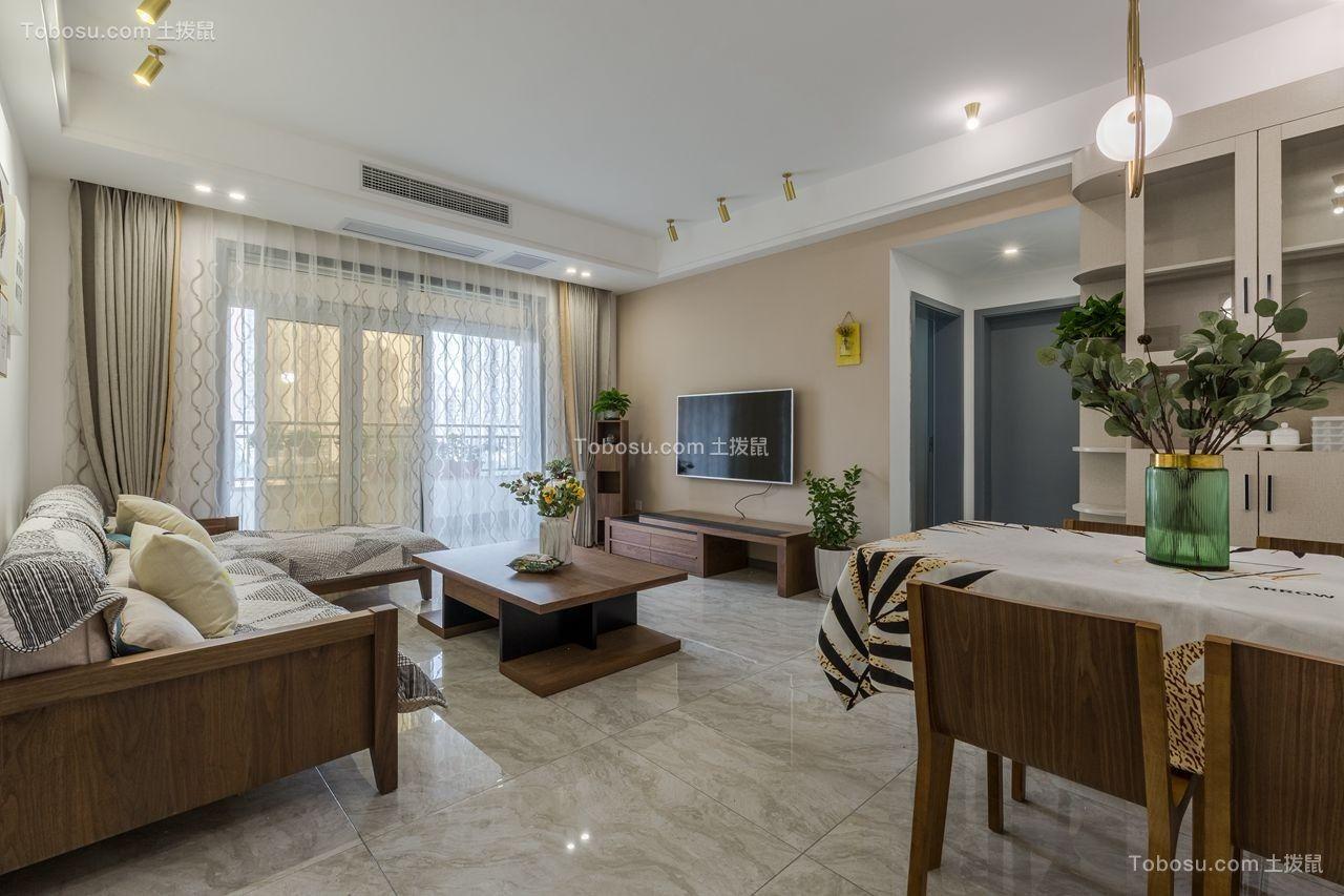 98平米三室现代简约风格新房装修效果图