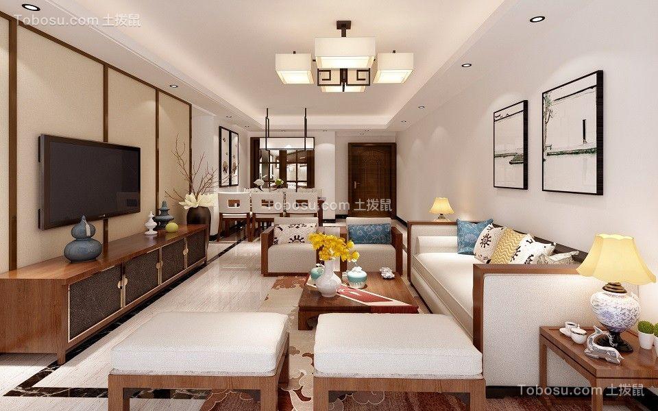159平新中式风格三居室装修效果图