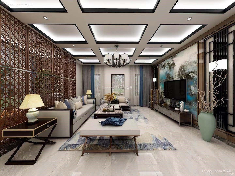 客厅灰色沙发新中式风格装潢设计图片
