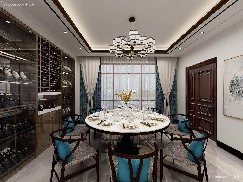 餐厅白色餐桌新中式风格装修效果图