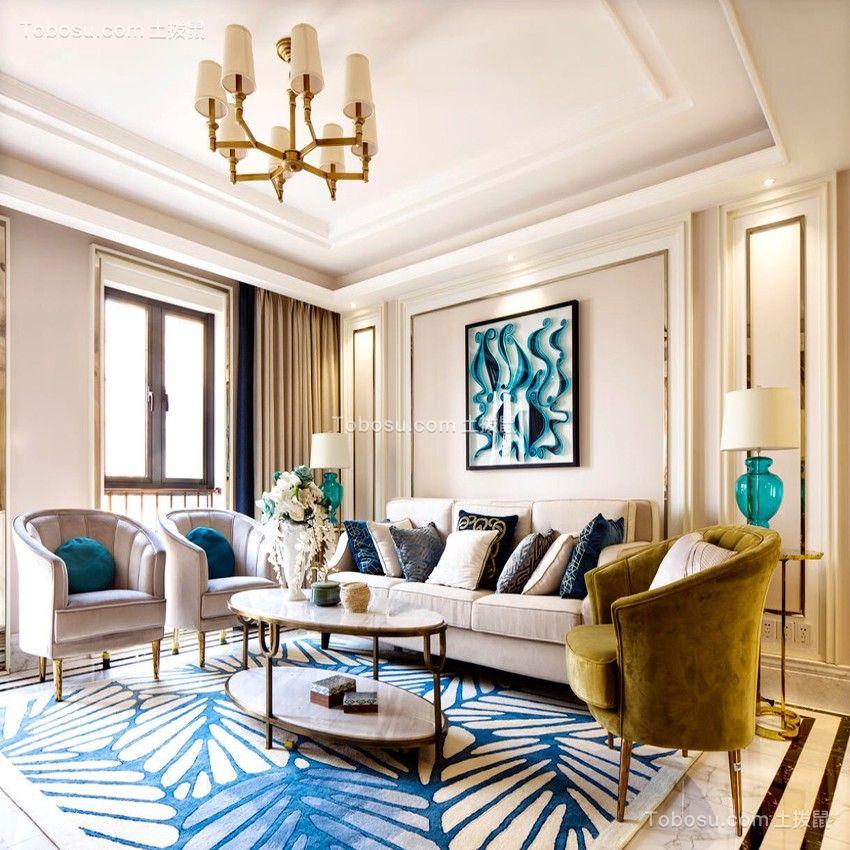 169平法式风格三居室装修效果图