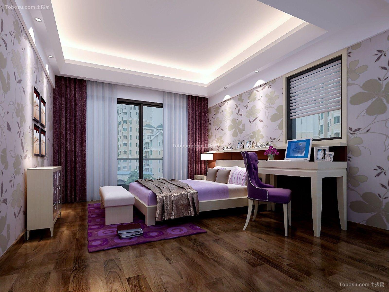 卧室紫色窗帘现代风格装修效果图