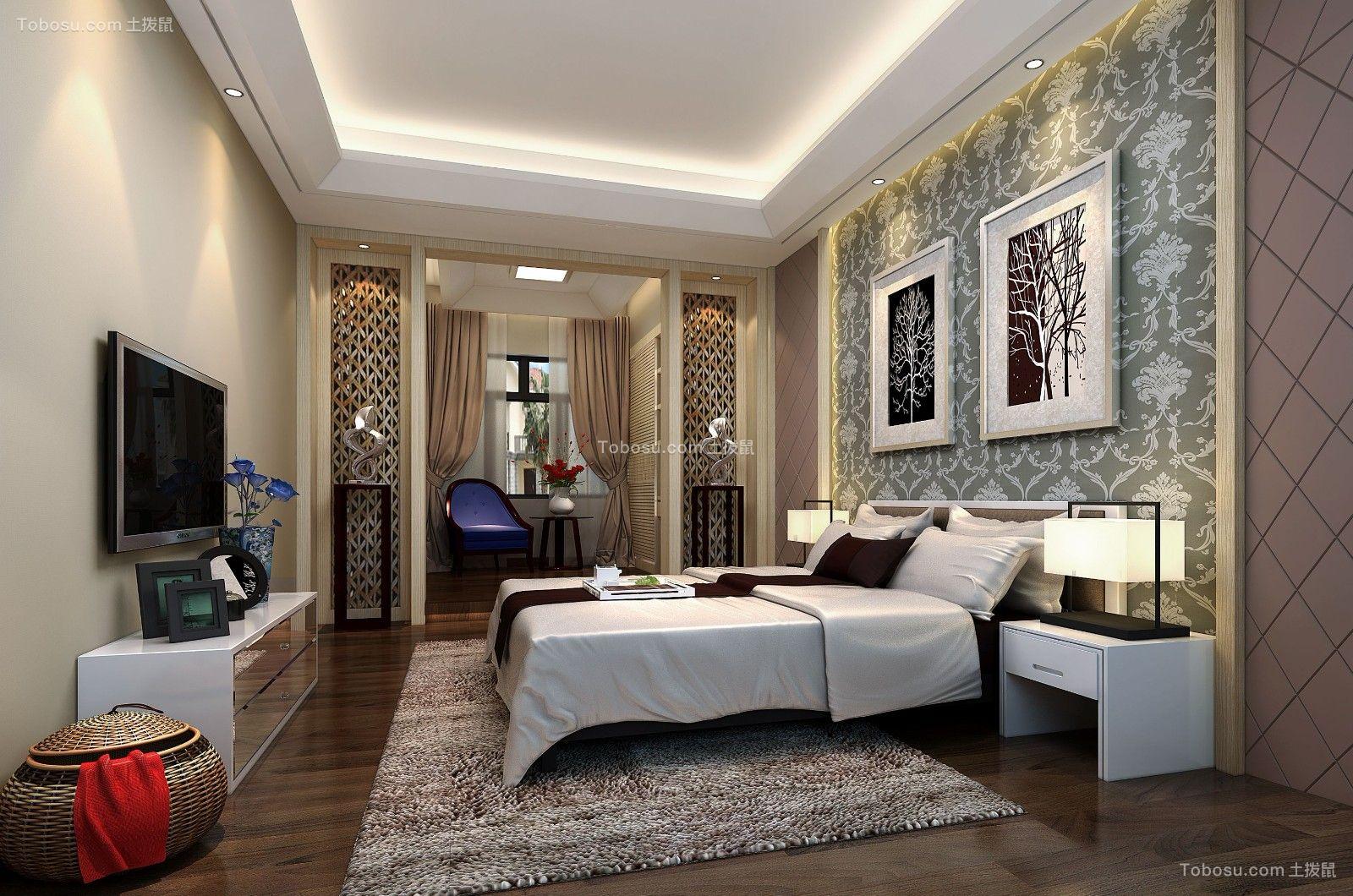 卧室白色吊顶现代风格装饰效果图