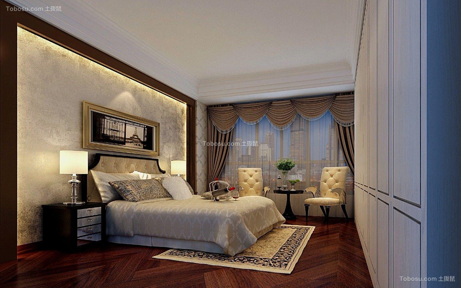 卧室白色吊顶简欧风格装潢图片