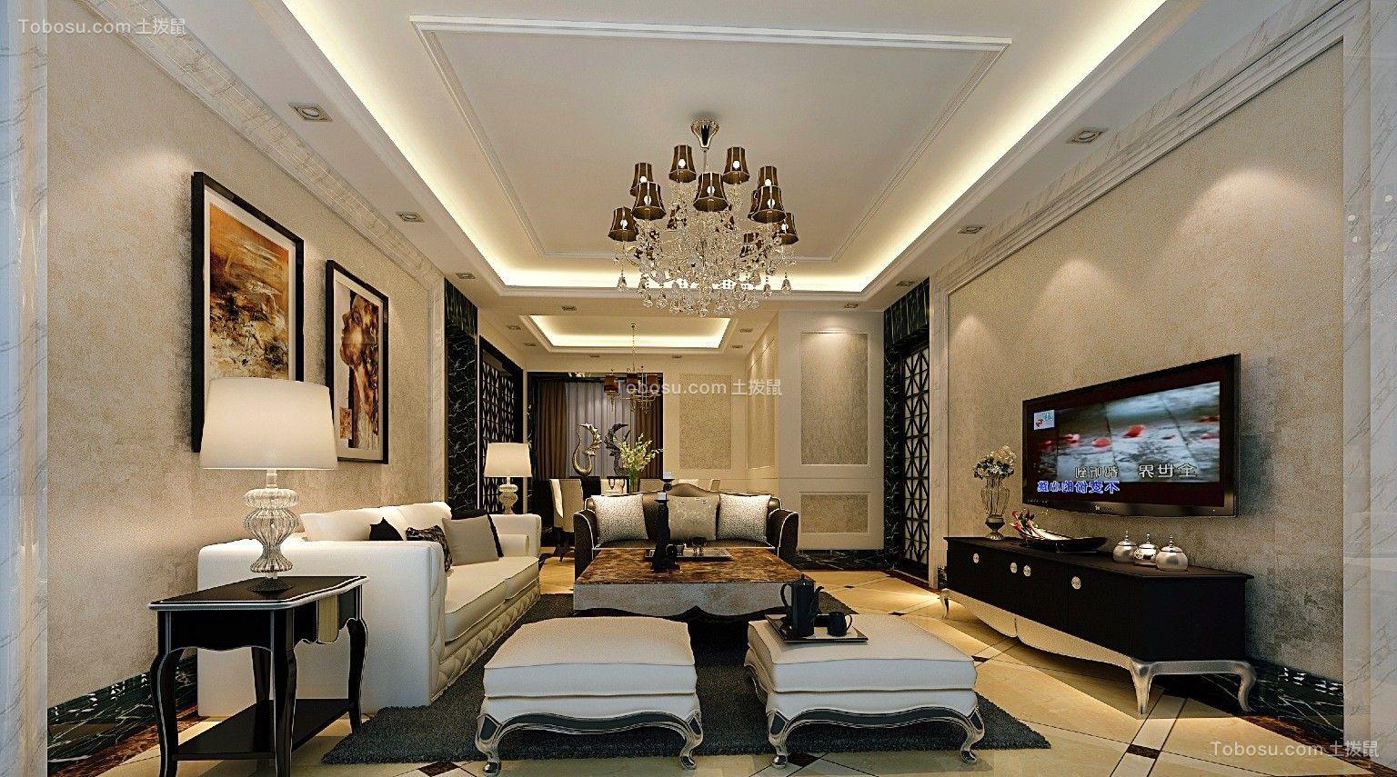 客厅白色沙发简欧风格装修设计图片