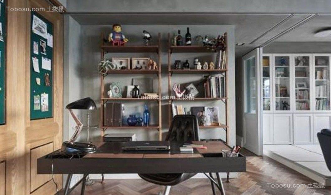 书房棕色书桌工业风格装修设计图片