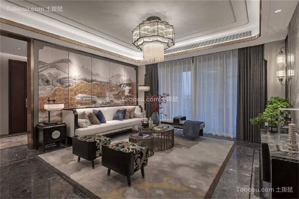 客厅米色沙发新中式风格装饰设计图片