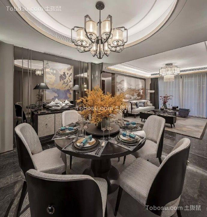 餐厅黑色餐桌新中式风格效果图