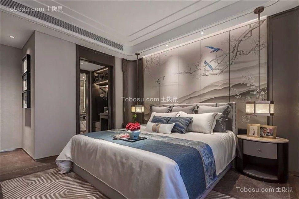 卧室灰色床新中式风格装修效果图