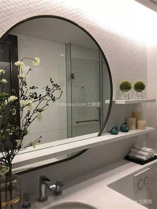 卫生间白色洗漱台新中式风格装潢效果图