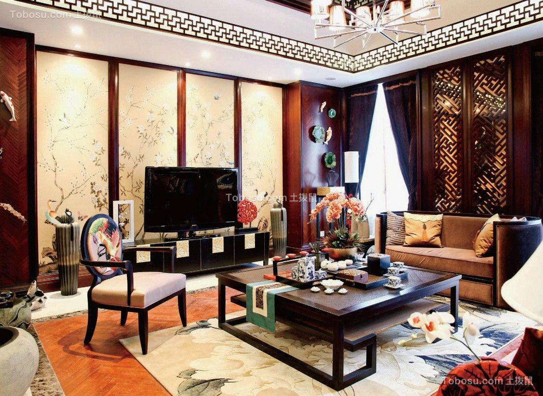 140平中式风格三居室装修效果图