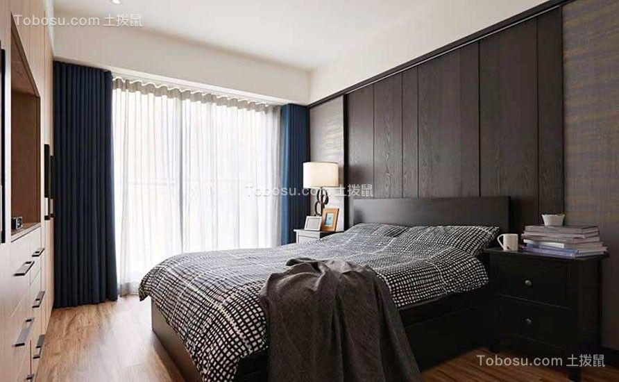 卧室蓝色窗帘美式风格装潢图片