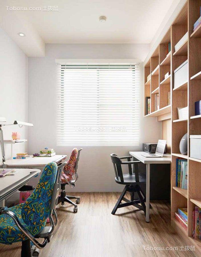 书房白色吊顶美式风格装修设计图片