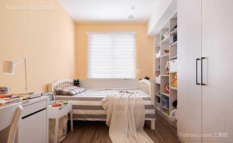 儿童房黄色背景墙美式风格装饰设计图片