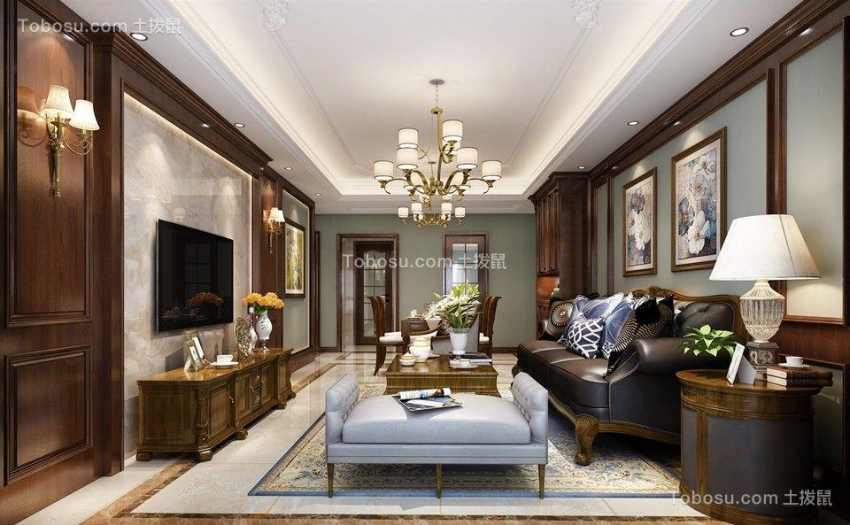 126平美式风格三居室装修效果图