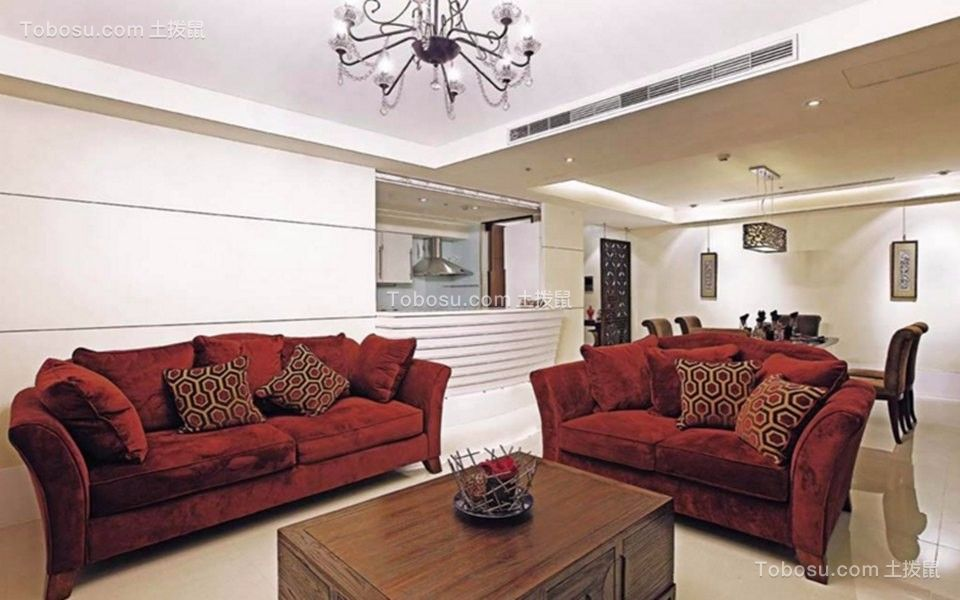 89平欧式风格两居室装修效果图