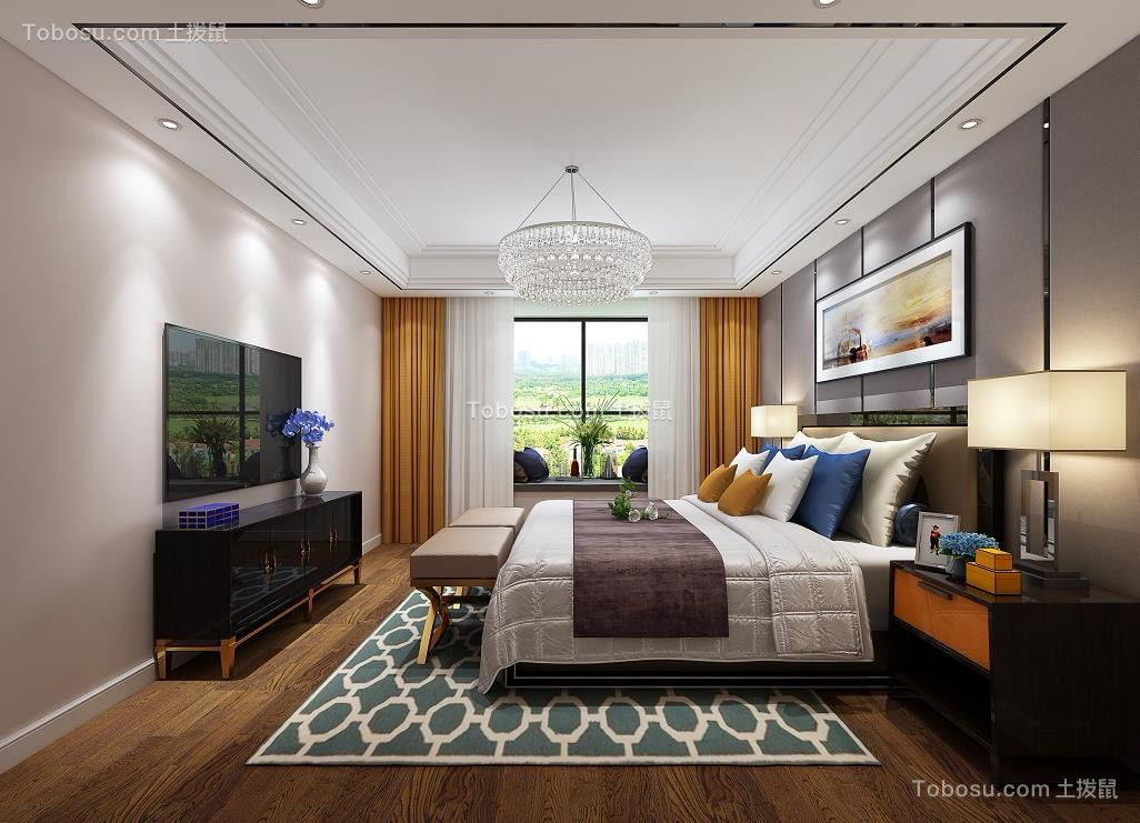 2019现代卧室装修设计图片 2019现代电视背景墙装修图