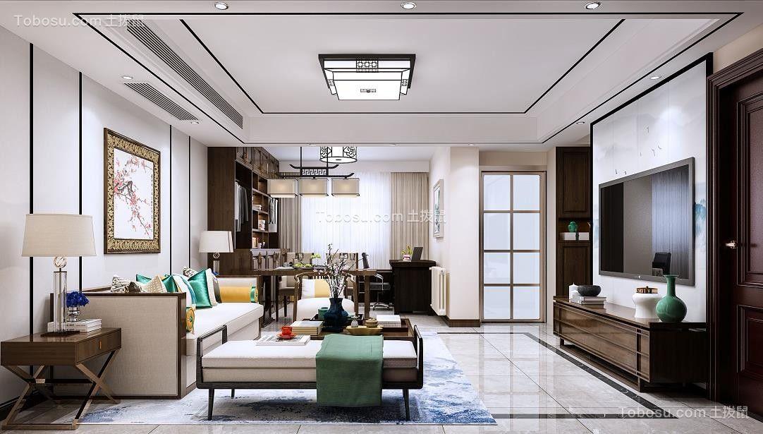 90平新中式三居室效果图
