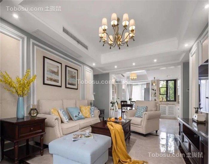 135平米现代美式风格三室二厅装修效果图