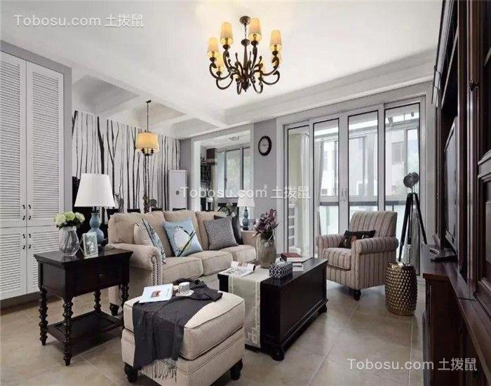 142平美式风格三居室装修效果图