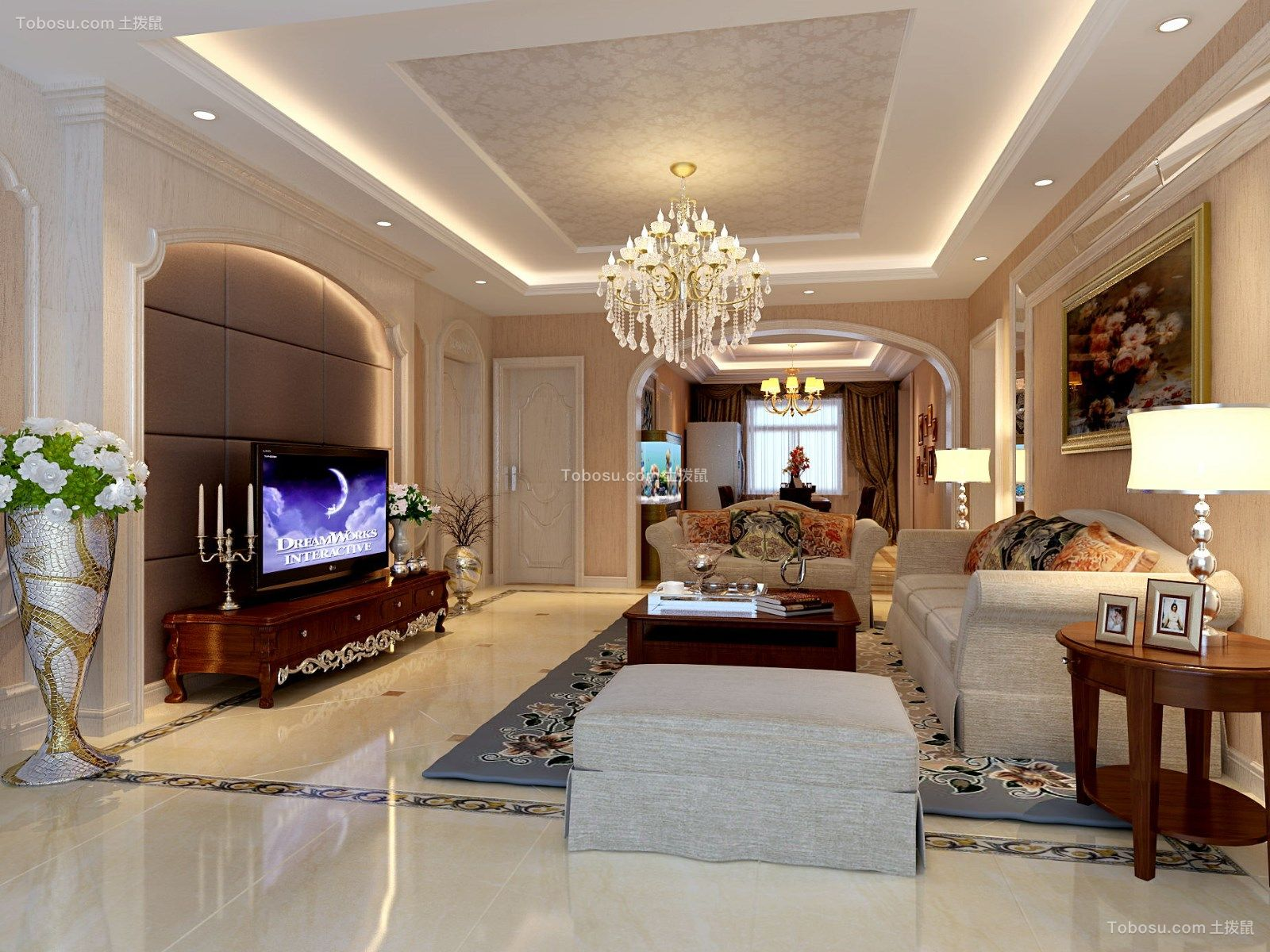 175平美式风格三居室装修效果图