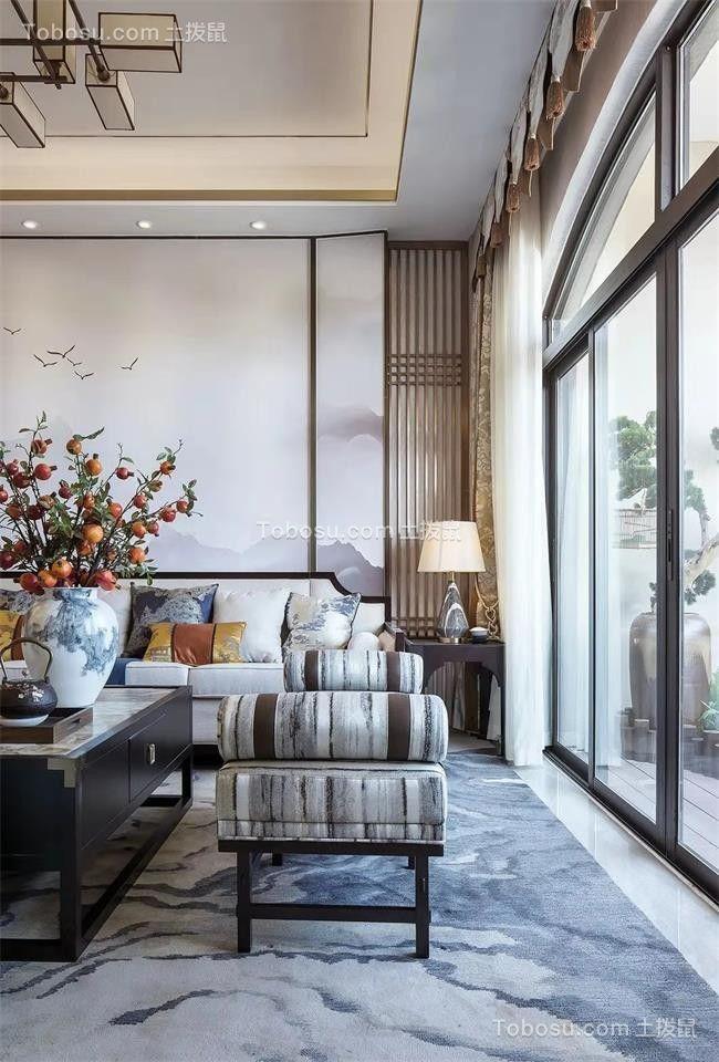 2019现代中式客厅装修设计 2019现代中式落地窗装修图片