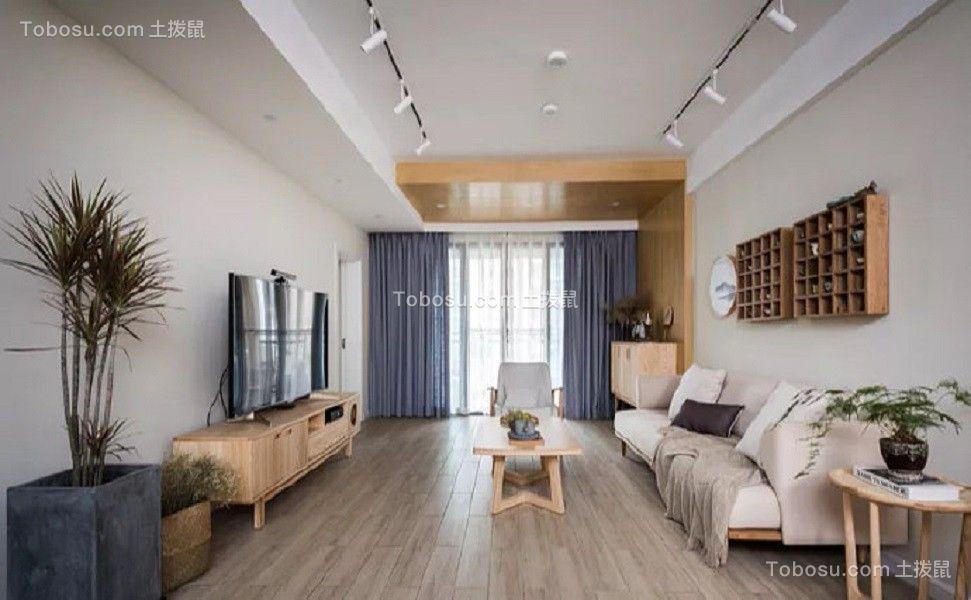 90平现代中式风格两居室装修效果图