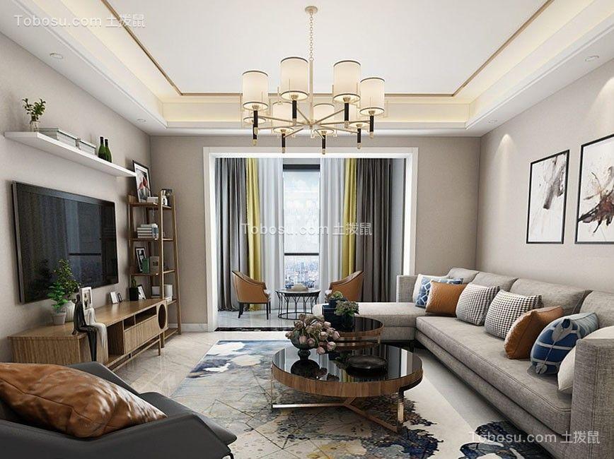 125平现代中式风格三居室装修效果图