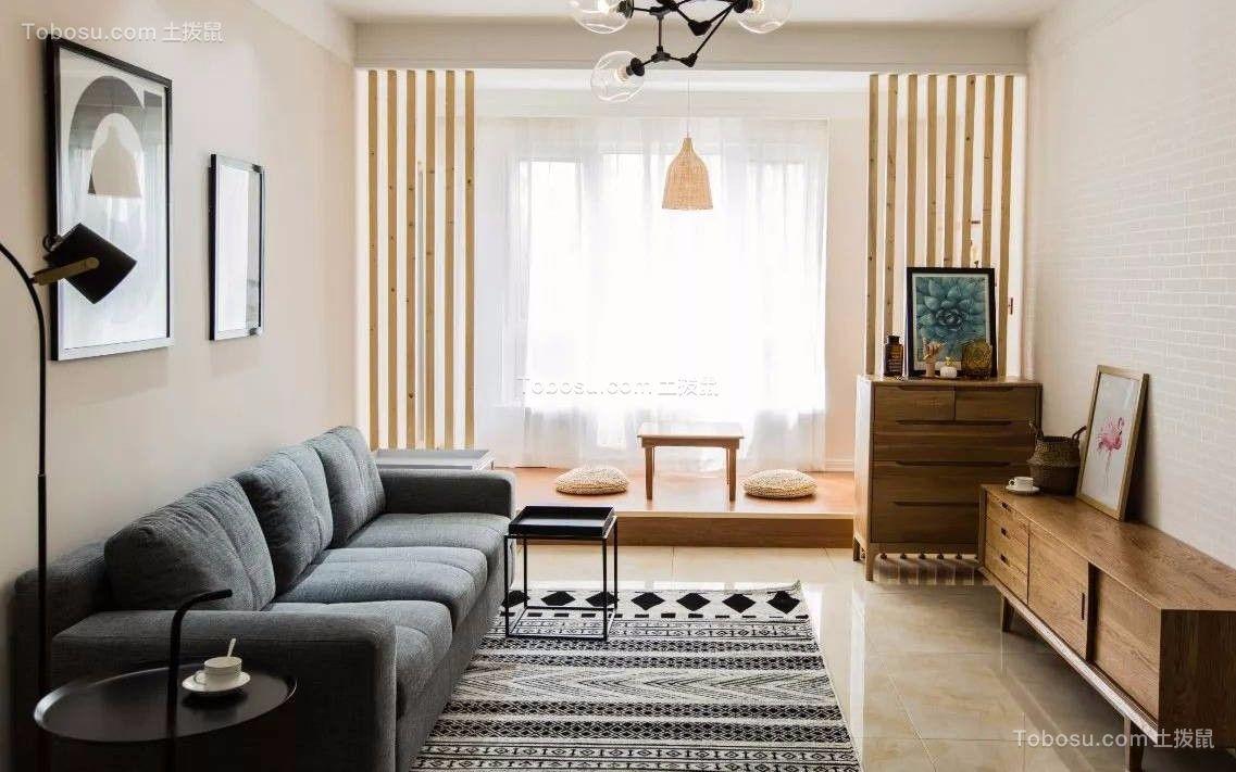 98平现代中式风格两居室装修效果图
