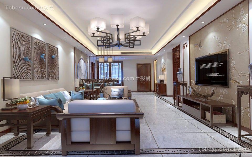 145平新中式风格三居室装修效果图